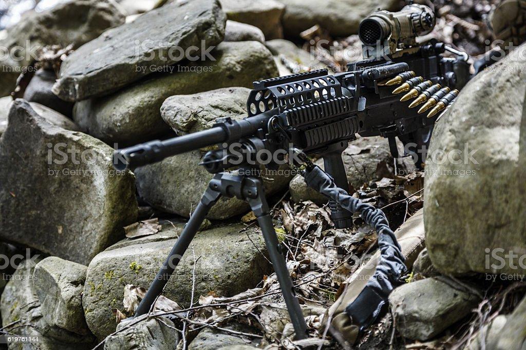 army ranger machine gunner stock photo