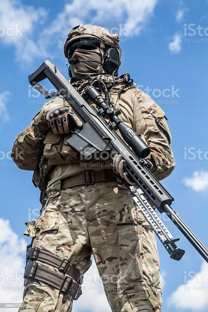 Army ranger sniper stock photo