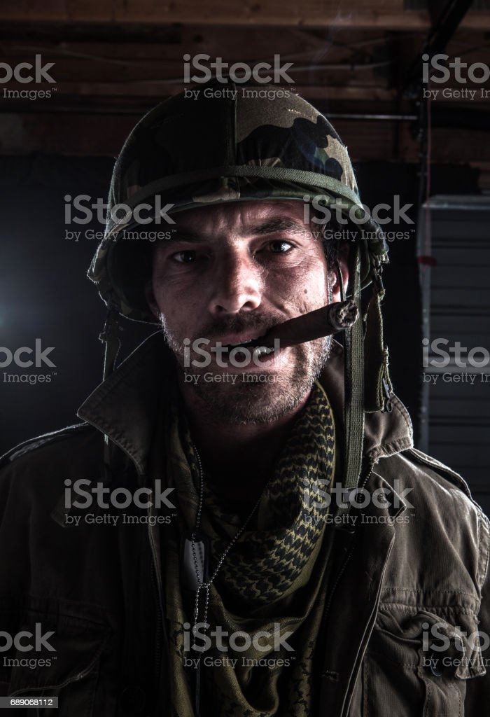 Army sargent smoking stock photo