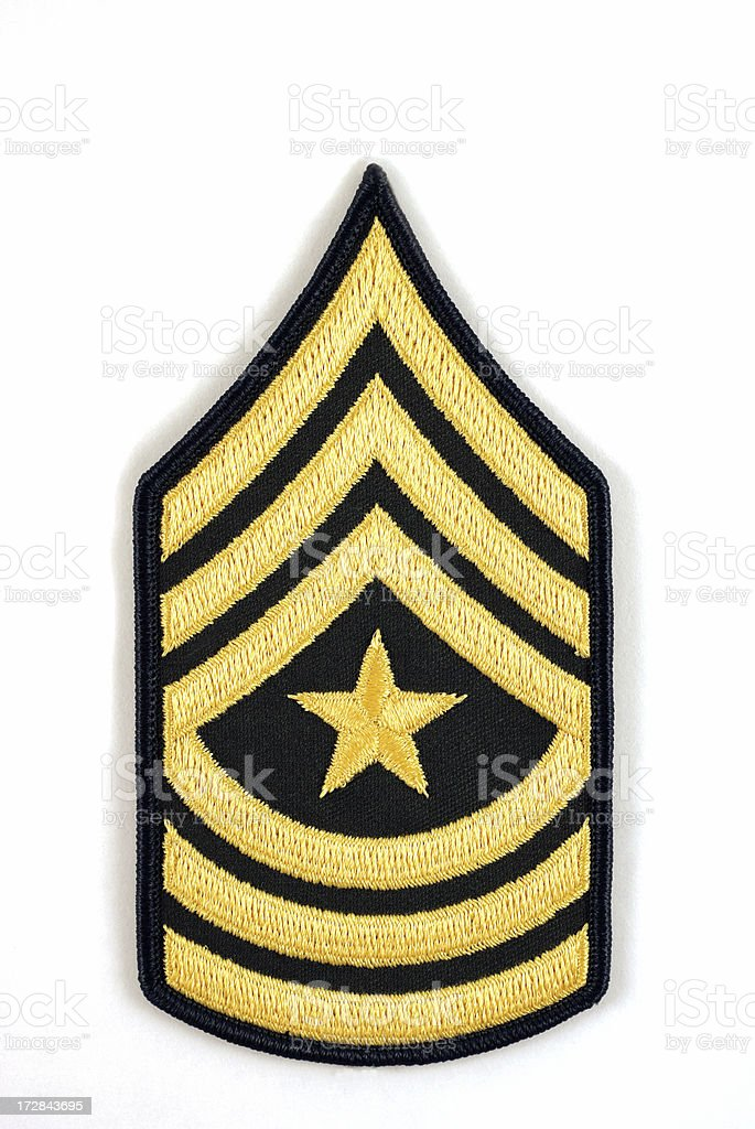 U.S. Army Sergeant Major Rank Insignia on White stock photo
