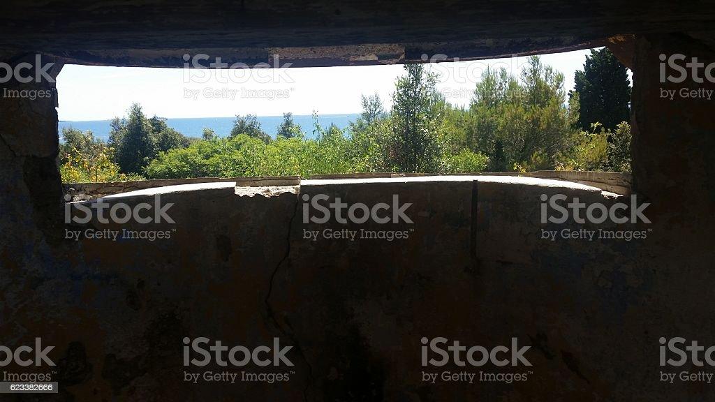Army shelter on croatian coast stock photo