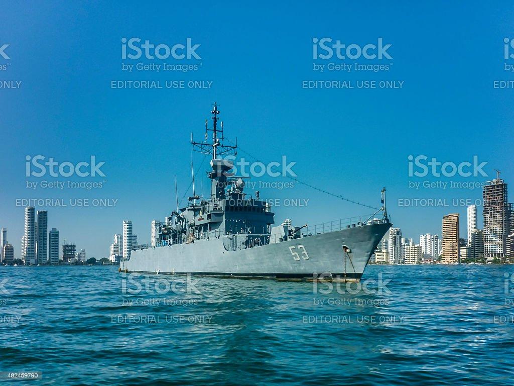 Army Ship in Caribbean Sea at Cartagena stock photo