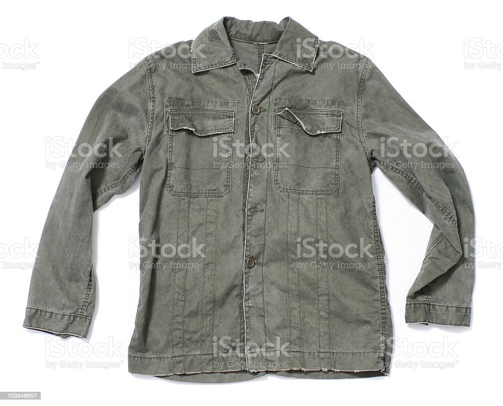U.S. Army Shirt, Faded Green - White Background royalty-free stock photo