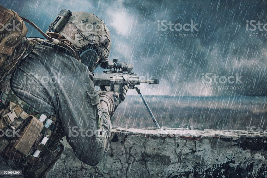 U.S. Army sniper stock photo