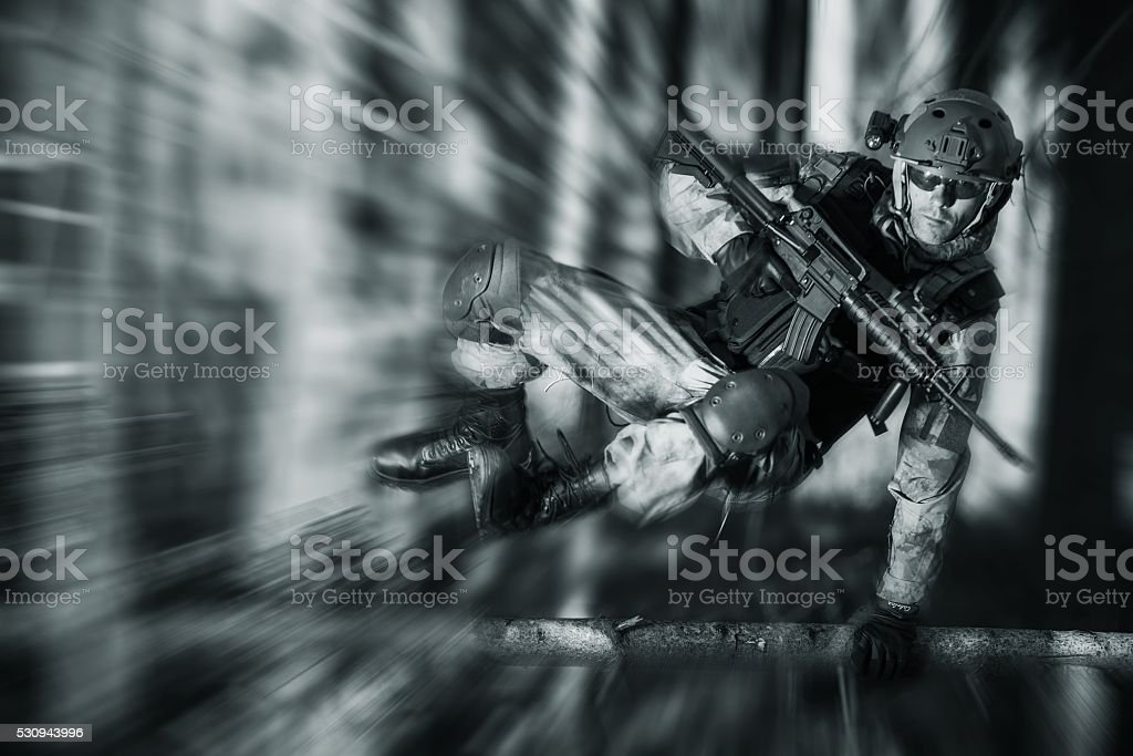 Army Soldier in Action stock photo