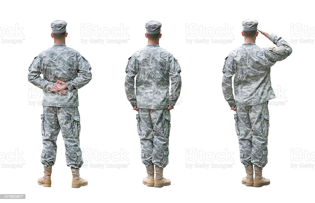 US Army soldier in three positions isolated on white background stock photo