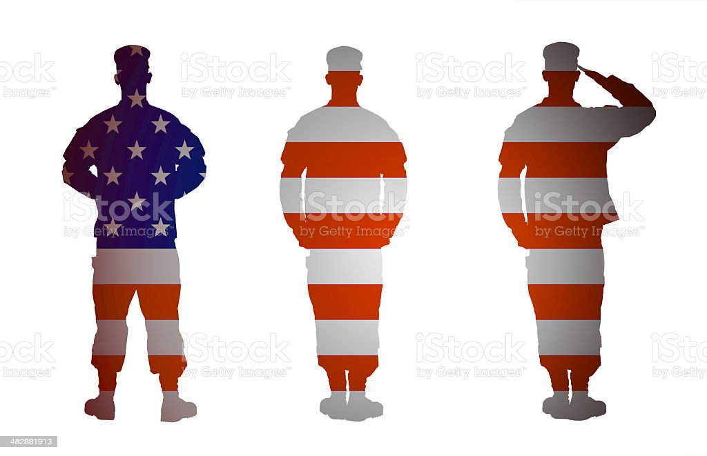 US Army soldier in three positions isolated on white background royalty-free stock photo