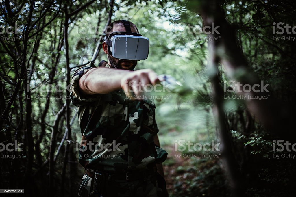 Army Soldier in virtual reality stock photo