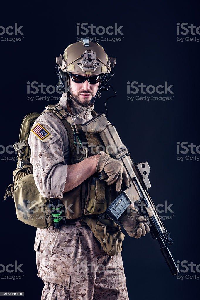 US Army Soldier on Dark Background stock photo