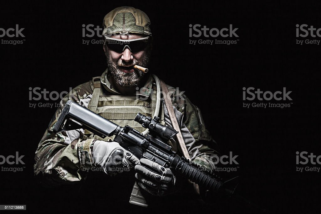 US Army soldier smoking stock photo