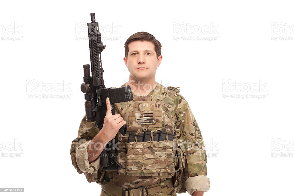 Army soldier with rifle stock photo