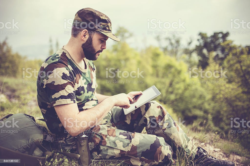Army Soldier with tablet stock photo