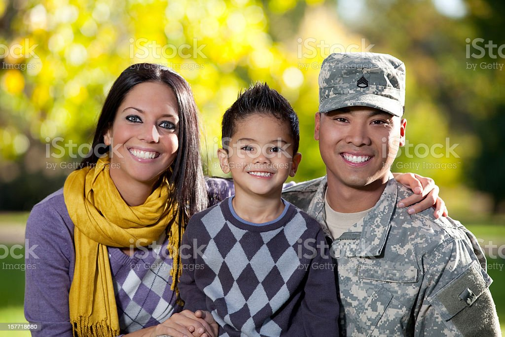 U S Army Soldier with Wife and Son Outdoor royalty-free stock photo