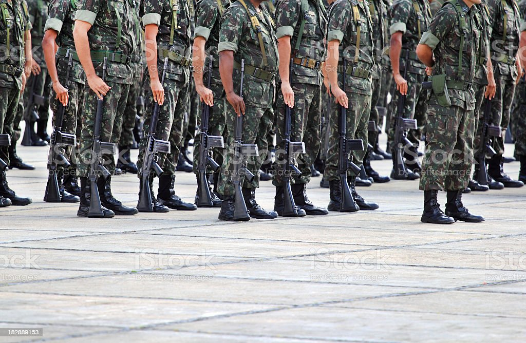 Army soldiers about to act royalty-free stock photo