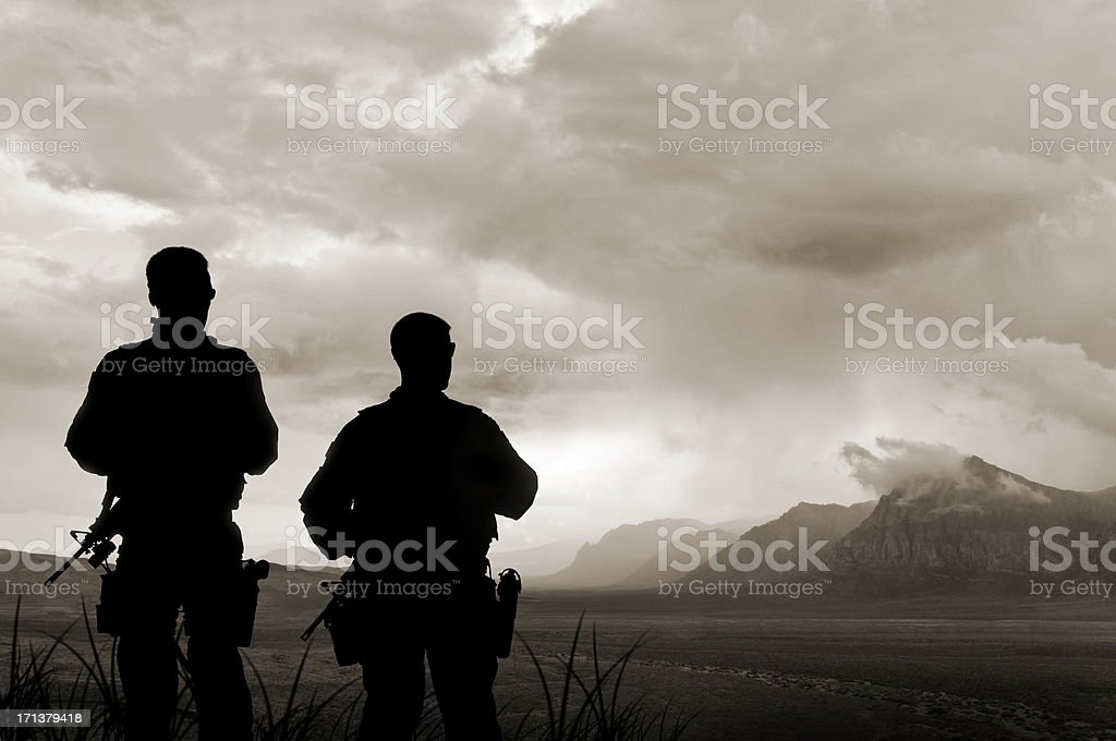 Army Soldiers in the Valley of Death stock photo