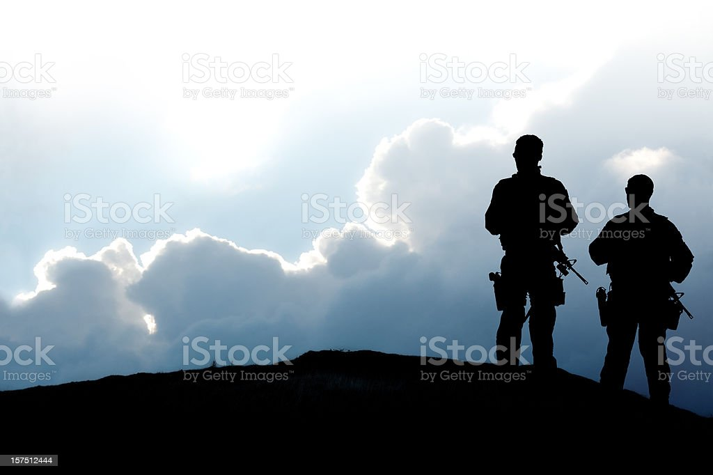 Army Soldiers on a Hilltop royalty-free stock photo