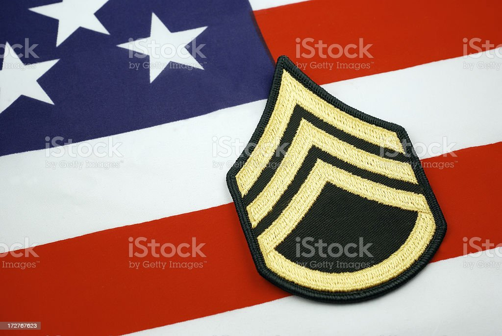 Army Staff Sergeant Rank insignia stock photo
