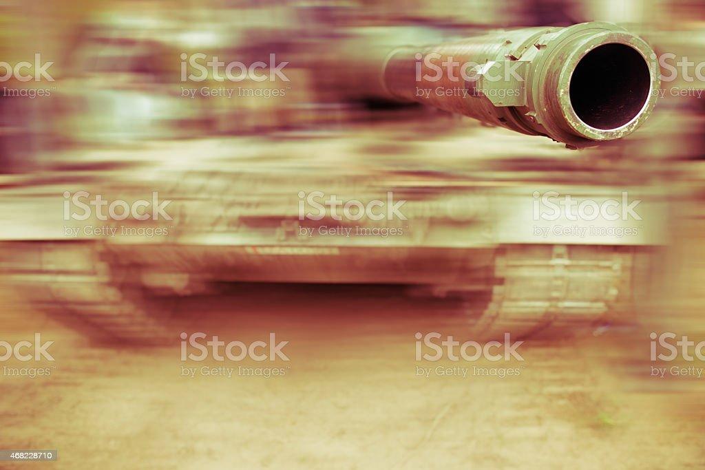 army tank motion blur, close up on gun barrel stock photo