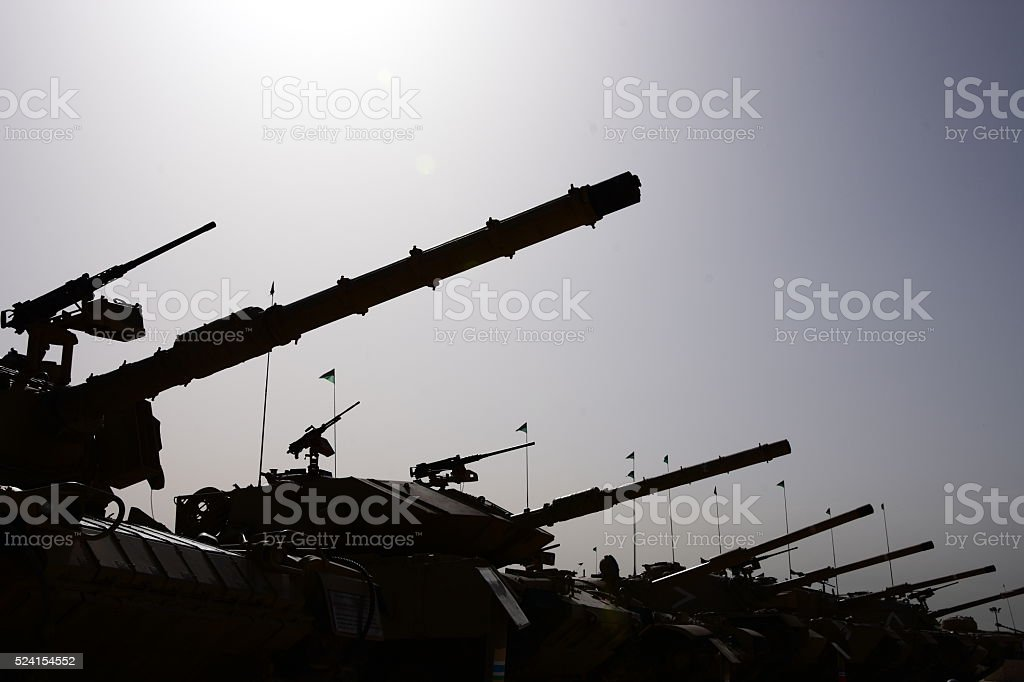 Army Tank Silhouette In a row stock photo