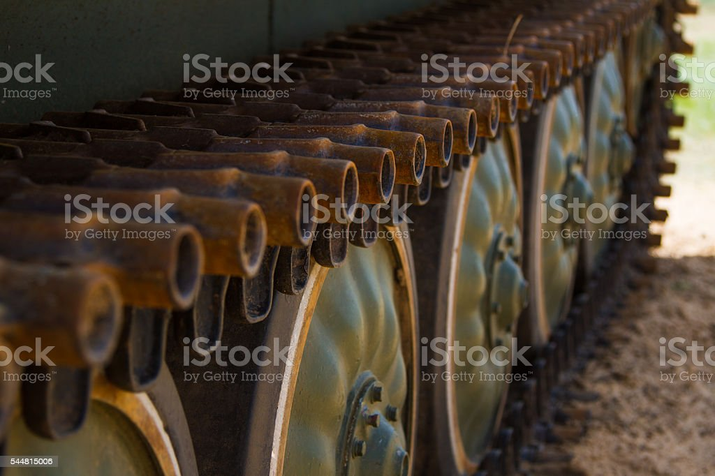 Army tank tracks stock photo