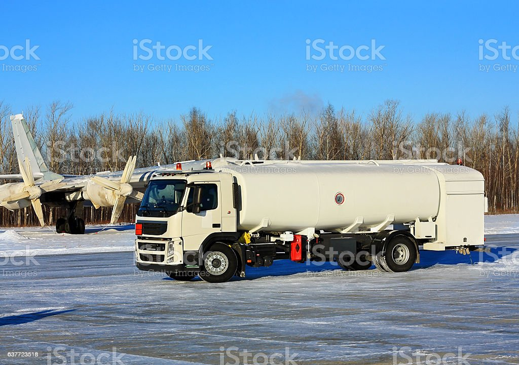 Army  tanker at  the airfield stock photo