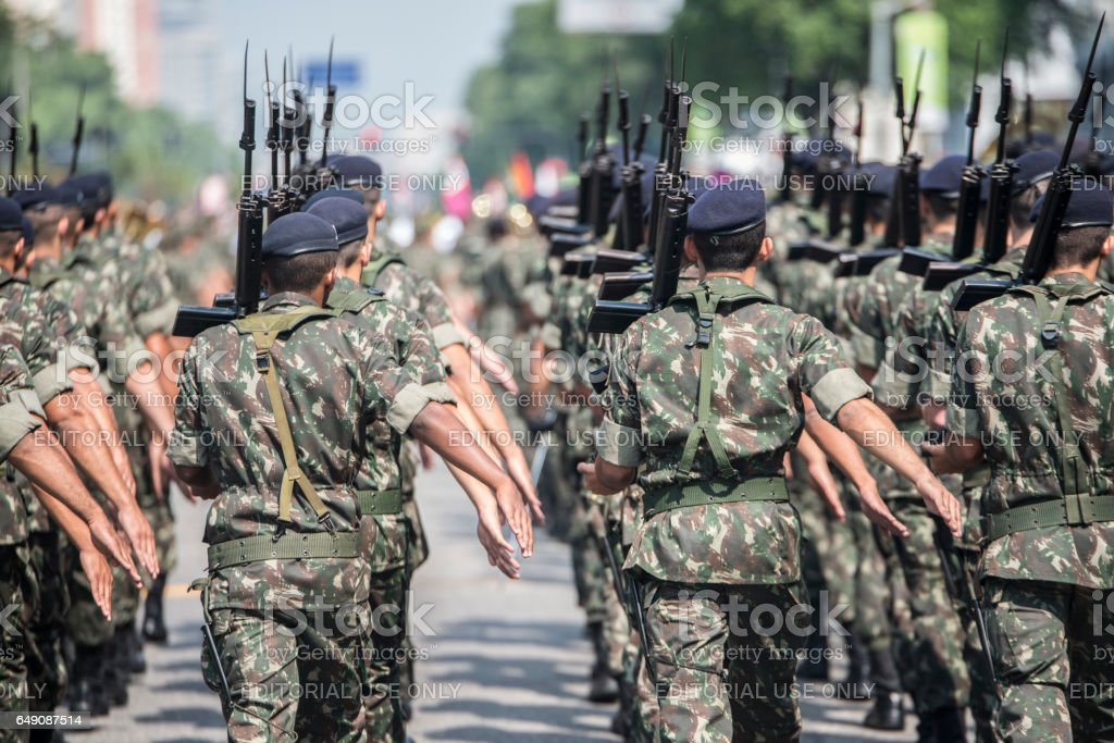 Army troops marching and parading stock photo