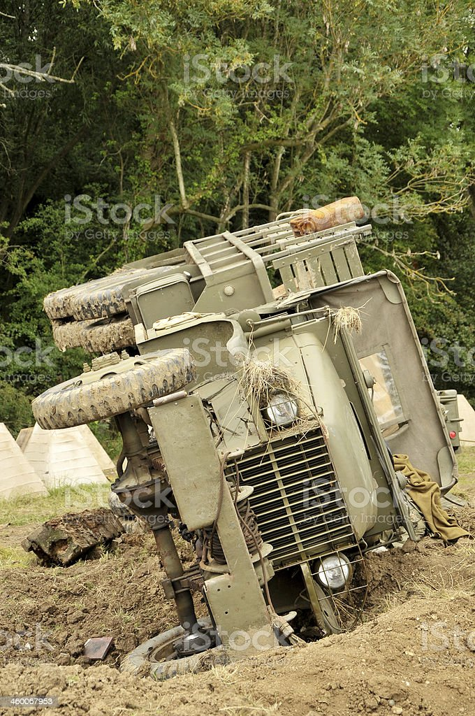 WW2 US Army Truck On Battlefield royalty-free stock photo