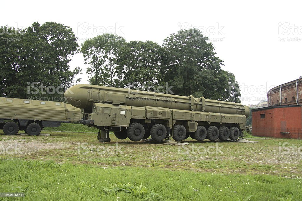 Army truck with rocket stock photo
