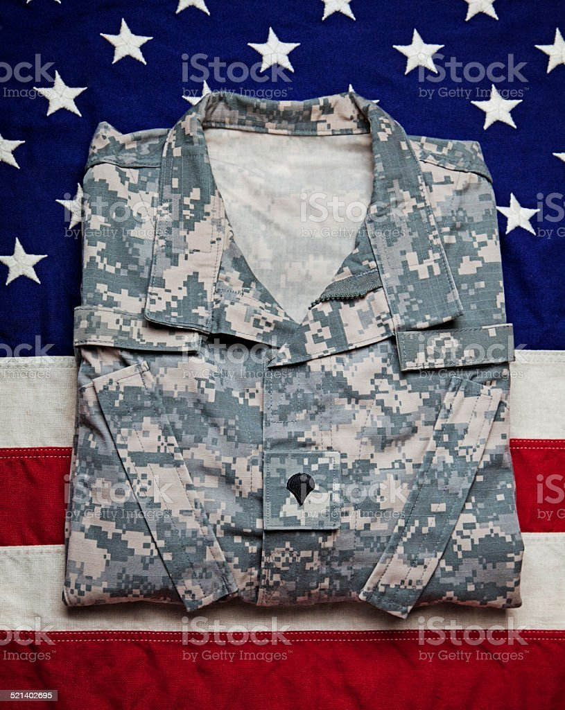 US Army Uniform & Flag stock photo