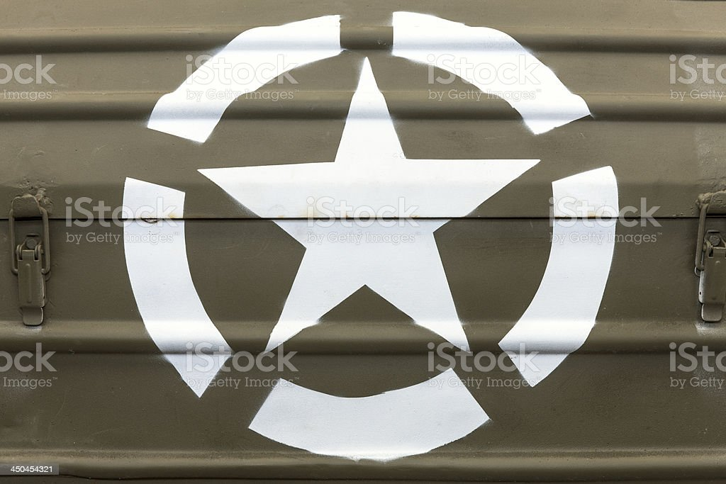 US Army White Star on Military Vehicle royalty-free stock photo