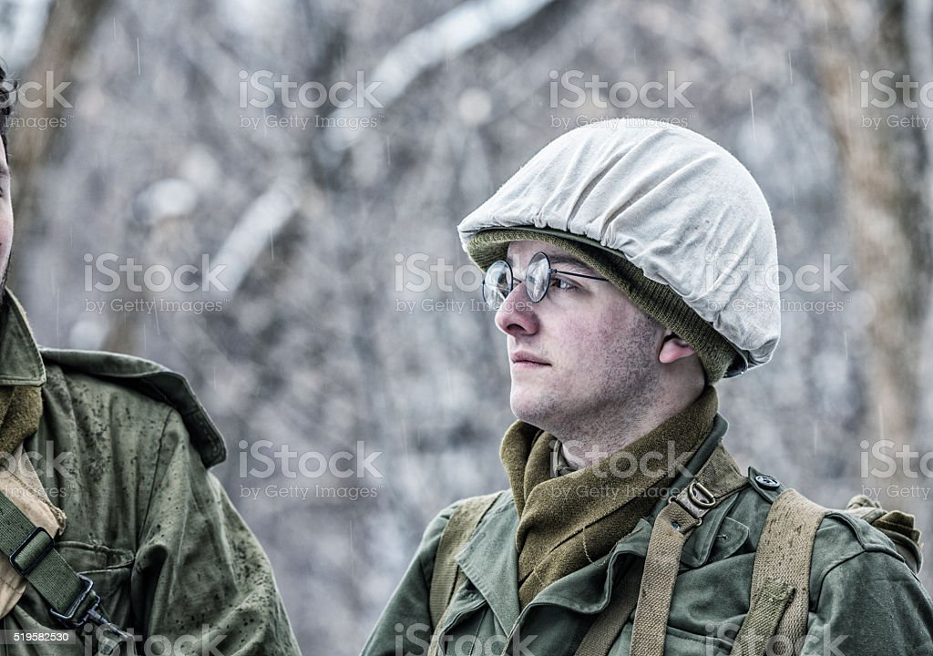 WWII US Army Winter Soldier Listening To War Stories stock photo