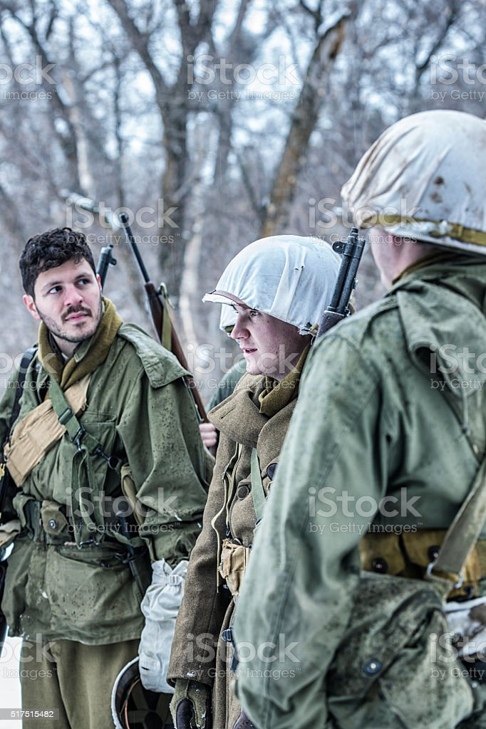 WWII US Army Winter Soldiers Waiting for Orders stock photo