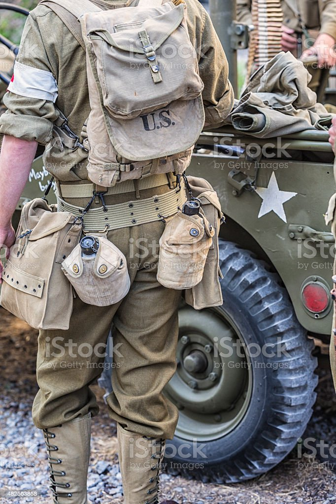US Army World War II Combat Medic Waiting For Orders stock photo