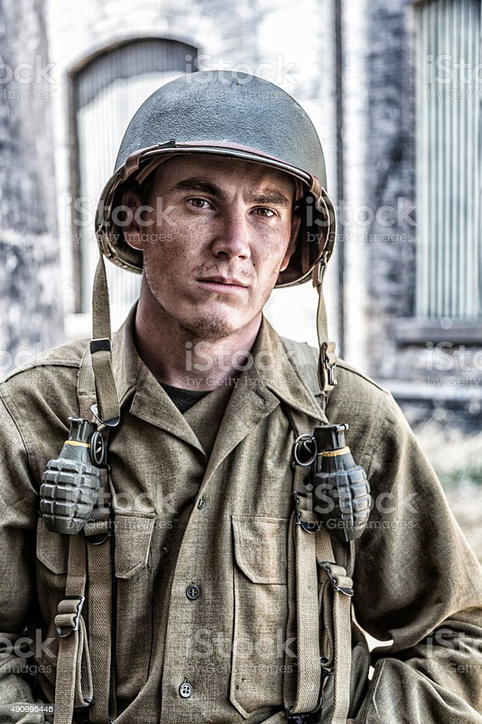 US Army World War II Infantry Combat Soldier Portrait stock photo