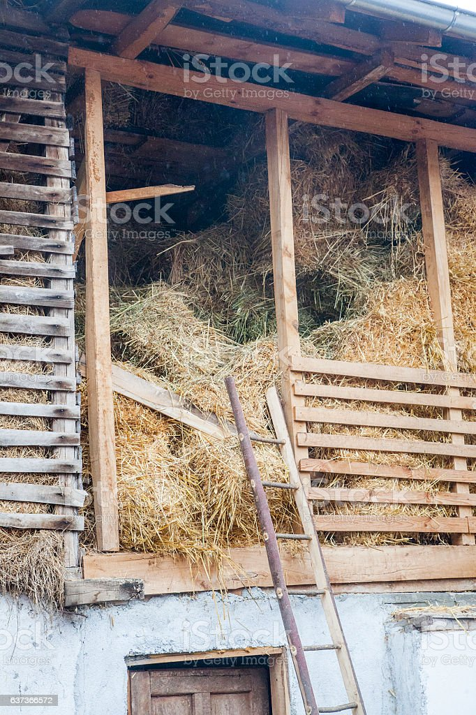 Бarn with hayloft stock photo