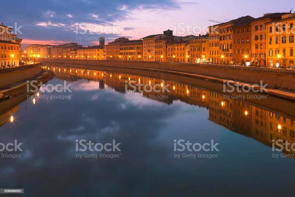 Arno By Night Pisa Italy stock photo