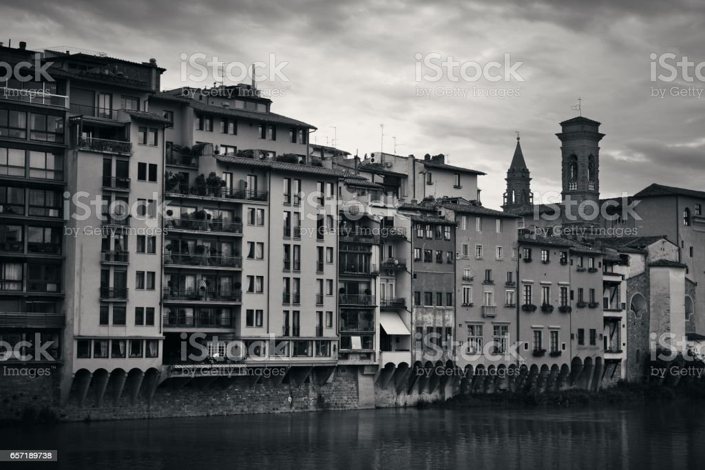 Arno River buildings black and white stock photo