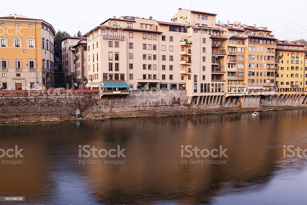 Arno River Embankment in the Early Morning Light, Florence royalty-free stock photo