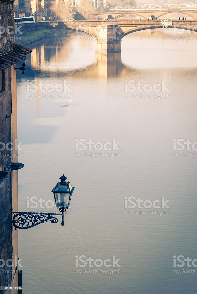 Arno river viewed from Vasari Corridor royalty-free stock photo