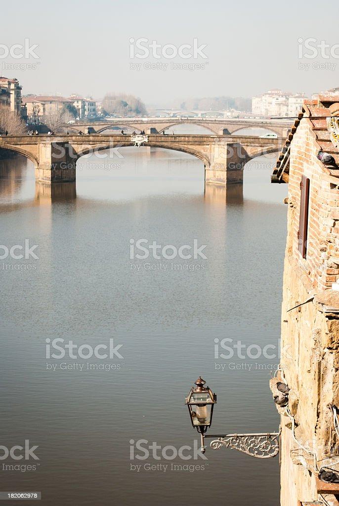 Arno river viewed from Vasari Corridor stock photo