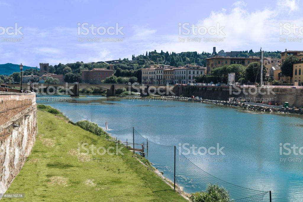 Arno River with Ponte alla Carraia bridge stock photo