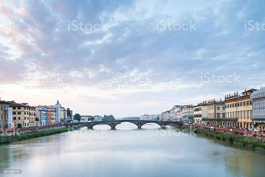 Arno River with Ponte alla Carraia in twilight stock photo