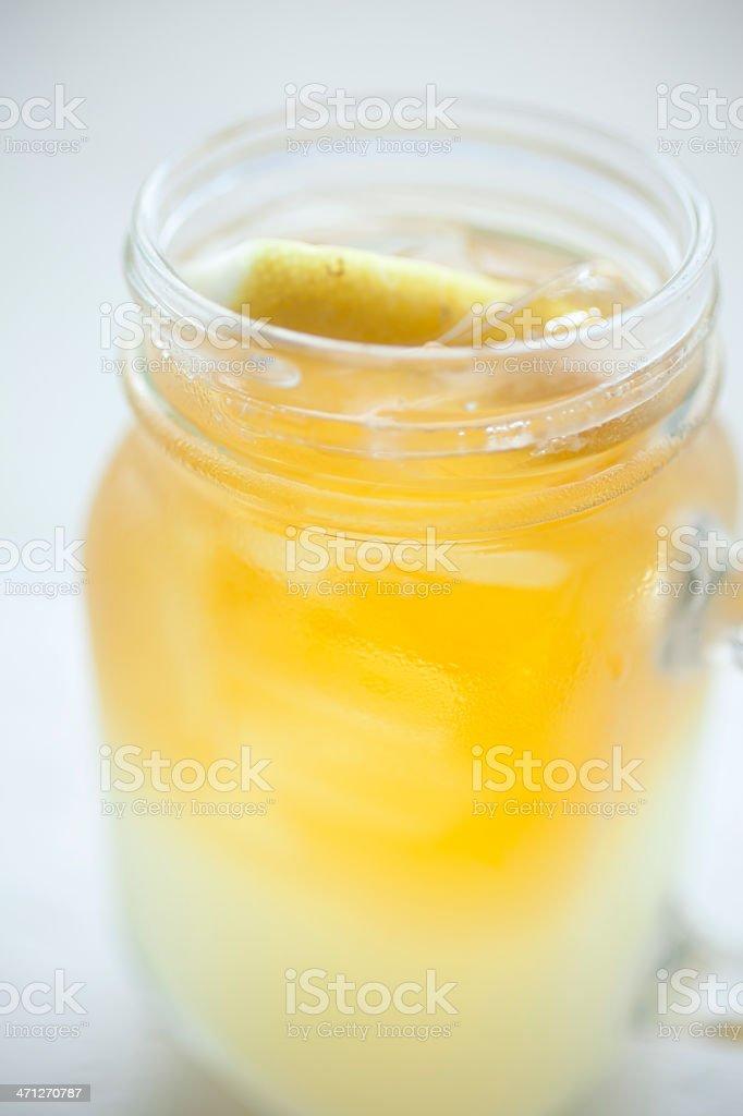 Arnold Palmer in a mason jar glass stock photo