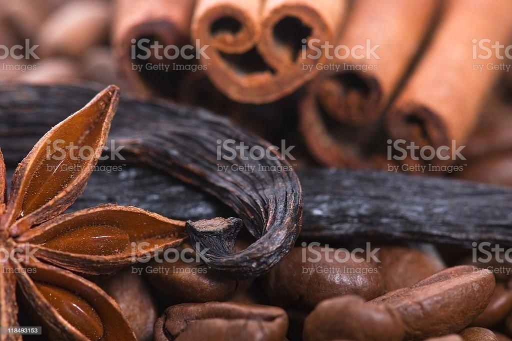 aroma coffe. ingredients royalty-free stock photo