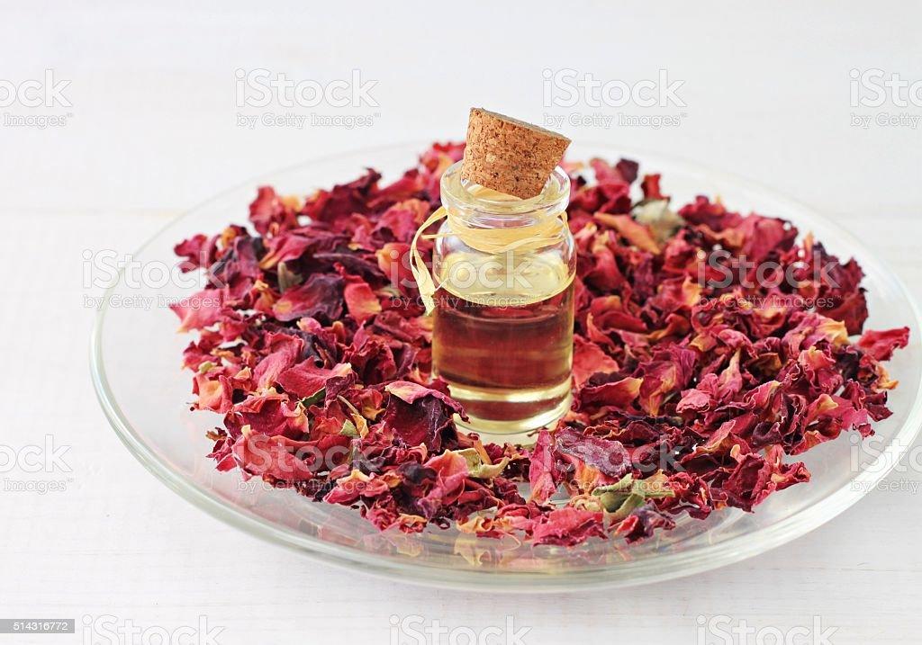 Aroma rose oil stock photo
