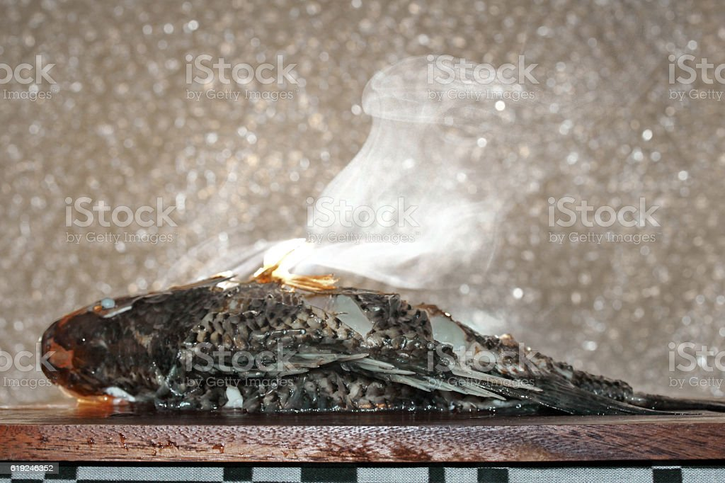 Aroma smell streamed tilapia fish . stock photo