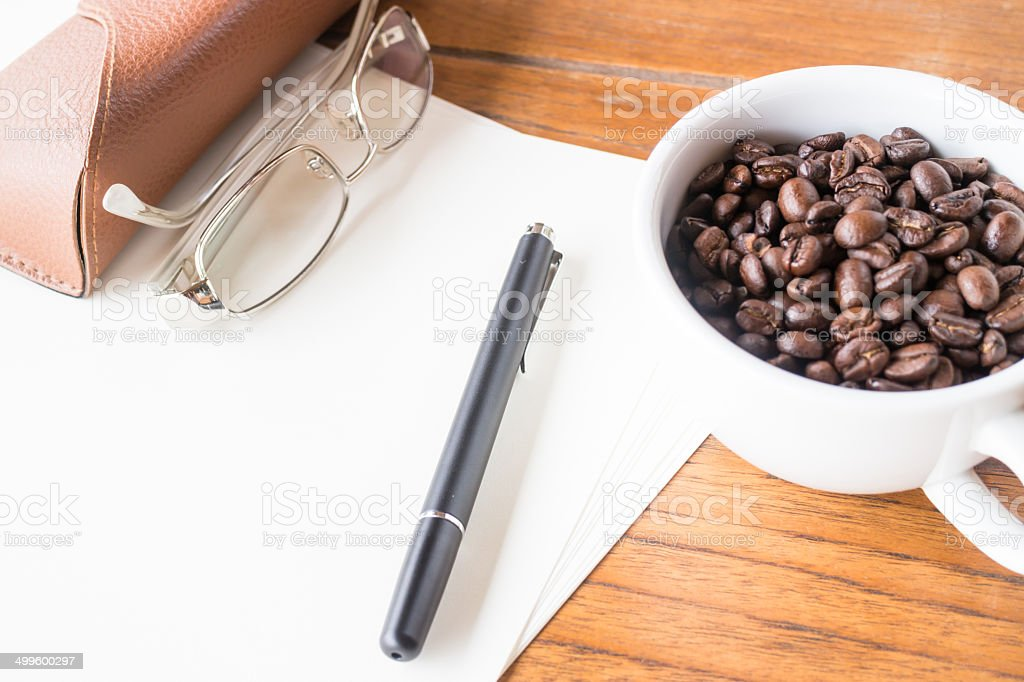 Aroma working table with roasted coffee stock photo