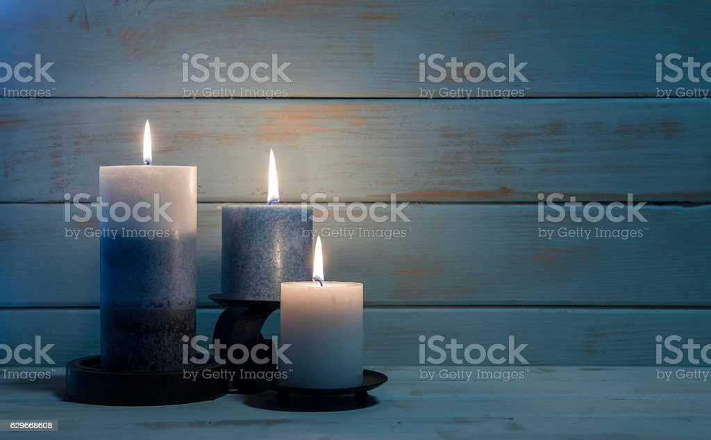 Aromatherapy Candles for Christmas and Hannukah Background stock photo