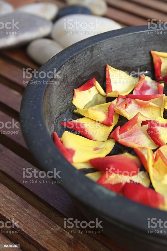 Aromatherapy Flower Bowl – Rose Petals stock photo