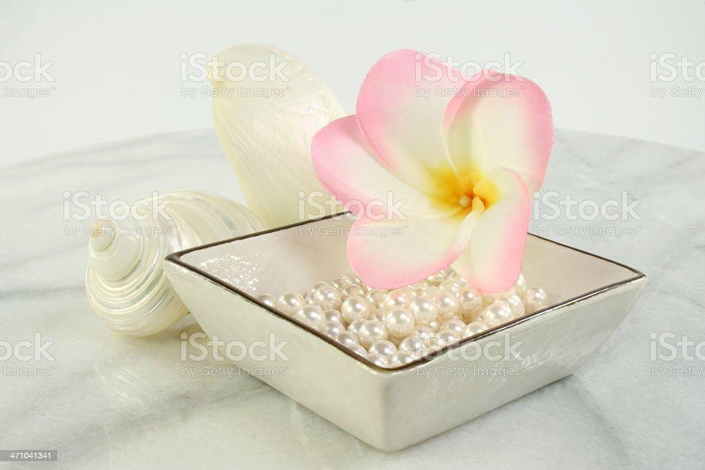 aromatherapy frangipani, shells & pearls royalty-free stock photo